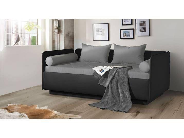 Schlafsofa 100x200 cm sandfarben mit Bettkasten - Eriko Komfort .