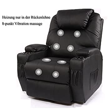Schwarz Fernsehsessel Relaxsessel Kunstleder 8 Points Massage .