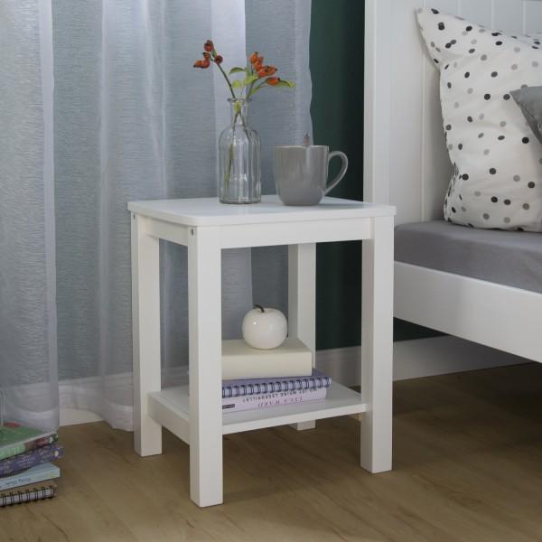 Beistelltisch Nachttisch Holz weiss Schlafzimmer Couchtisch .