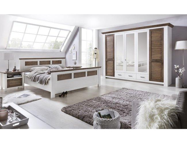 Schlafzimmer komplett Laguna Set 4 teilig Pinie weiss braun, 2.699 .
