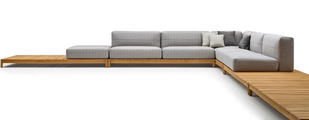 Schnitt Sofa aus Massivholz, mit Polsterelementen | IDFdesi