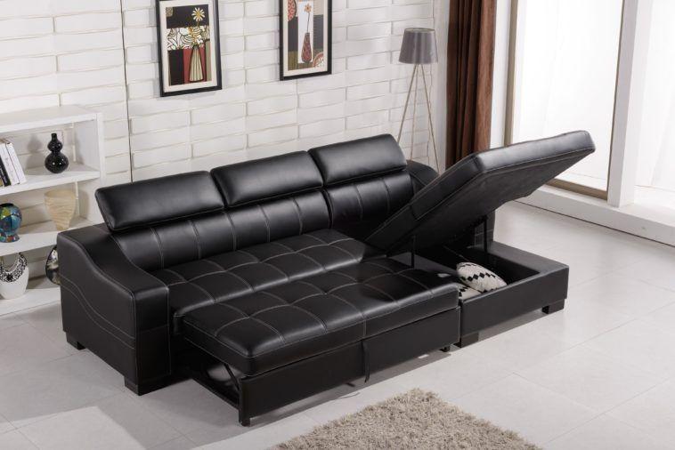 Möbel-Schwarz-Leder-Schnitt-Sofa-Mit Liege-Und Storage-Leder .