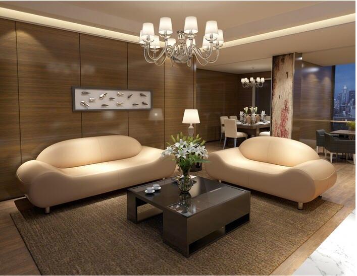 Schnittsofa aus echtem Leder 2 + 3-Sitzer Wohnzimmer Sofa Set L .