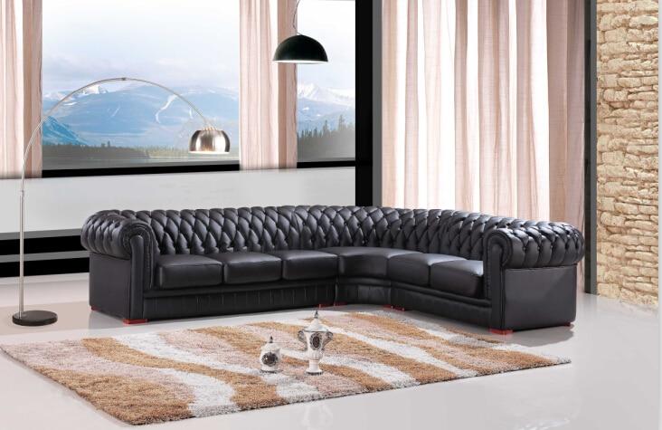 Moderne schnittsofa für leder Chesterfield sofa Schwarz Farbe für .