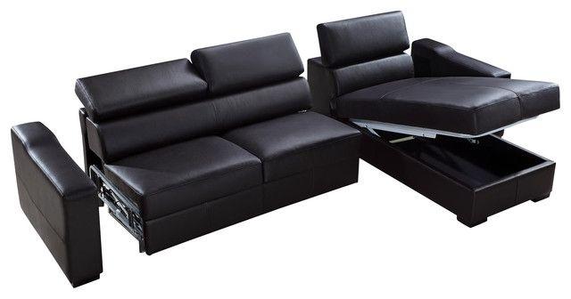 Flip Reversible Leder Sectional Sofa-Bett Mit Aufbewahrung-Leder .