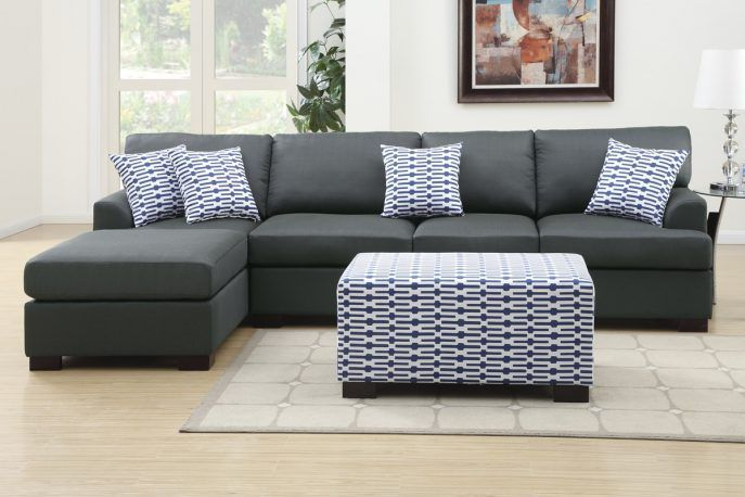 Gray couch with chaise longue-#chaise #couch #longue-#Genel .