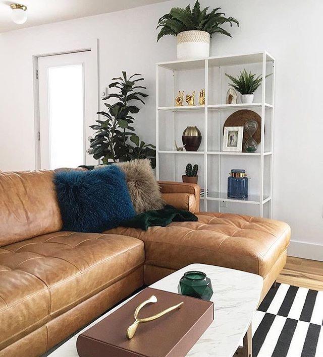 KINSEY Caramel 100% Leder Schnittsofa links | Structu - Home Savvy .