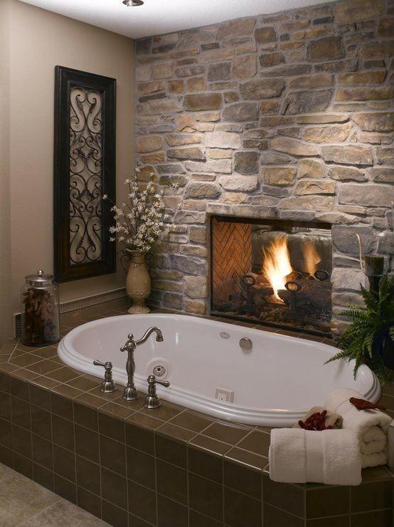 20 schöne Badezimmer-Designs mit Kamine #Badezimmer #designs .