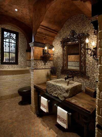 Schöne Badezimmer Designs mit mediterranen und rustikalen Stil .