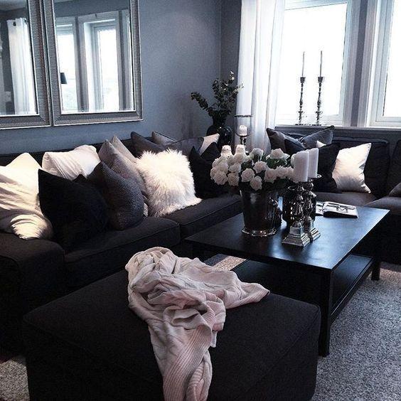 Wohnzimmer-Ideen schwarzes Sofa | Wohnzimmer design, Schwarzes .