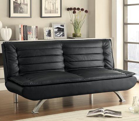 Schwarzes Leder SchlafSofa #Leder | Wohnzimmer sofa, Bettsofa .