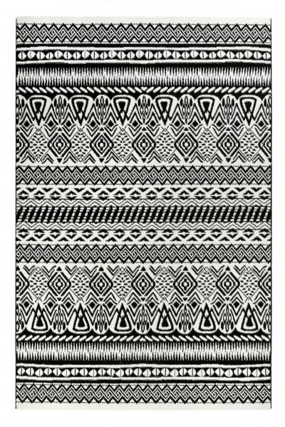 Ethno Teppich Schwarz Wei