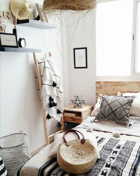 Monochrome Boho Bedroom 😍 Made in Morocco. #pompomdecke .