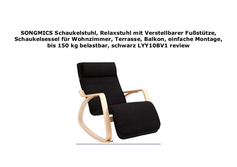 SONGMICS Schaukelstuhl, Relaxstuhl mit Verstellbarer Fu st tze .