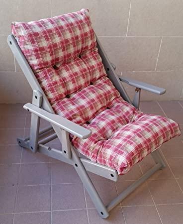 Sessel Liegestuhl Relax 3 Positionen aus Holz lackiert grau .
