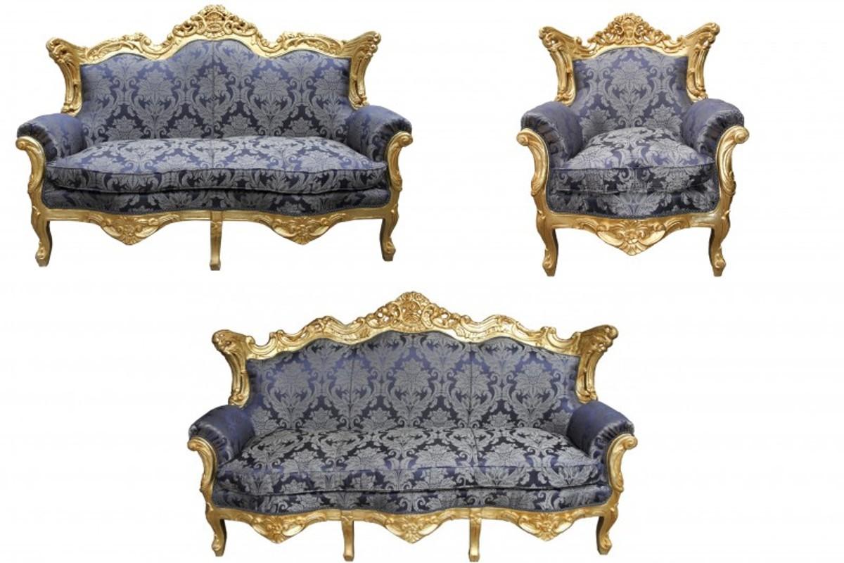 Casa Padrino Barock Wohnzimmer Set Royal Blau Muster/ Gold - 3er .