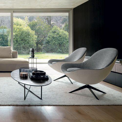 Contemporary armchair / fabric / leather / swivel SOOR by Jai .