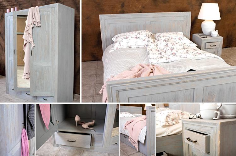 Schlichte Schlafzimmermöbel in Grau schaffen Raum für das .