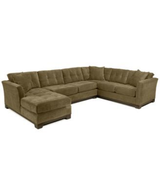 Elliot 3-Pc. Microfiber Sectional with Sleeper Sofa & Chaise .