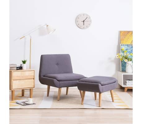 vidaXL Slipper-Stuhl mit Fußhocker Stoffbezug Grau im vidaXL .