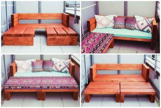 DIY Holz Sofa im Freien | Diy furniture easy, Balcony furniture .