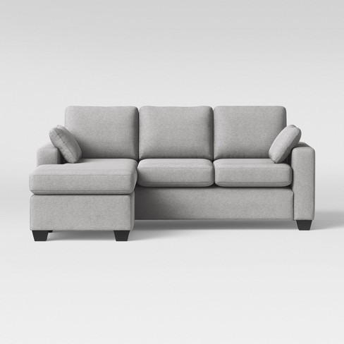 Barnstable Pillow Arm Transitional Reversible Chaise Sofa Gray .