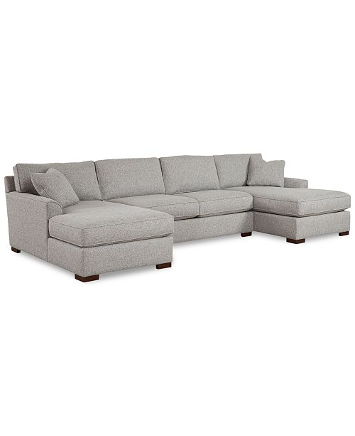 Furniture CLOSEOUT! Carena 3-Pc. Fabric Sectional Sofa with Double .