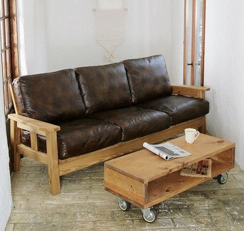 Schönes Holz Und Leder Sofa | Einrichtungsstil, Braunes ledersofa .