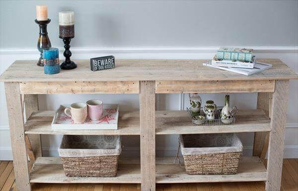 DIY Shabby Chic Palette Buffet und Sofa Tisch   Paletten tisch .