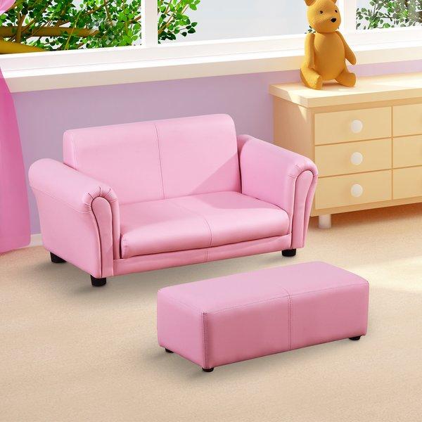 HOMCOM® Kindersofa mit Hocker Sessel Kinder Softsofa Kindersessel .