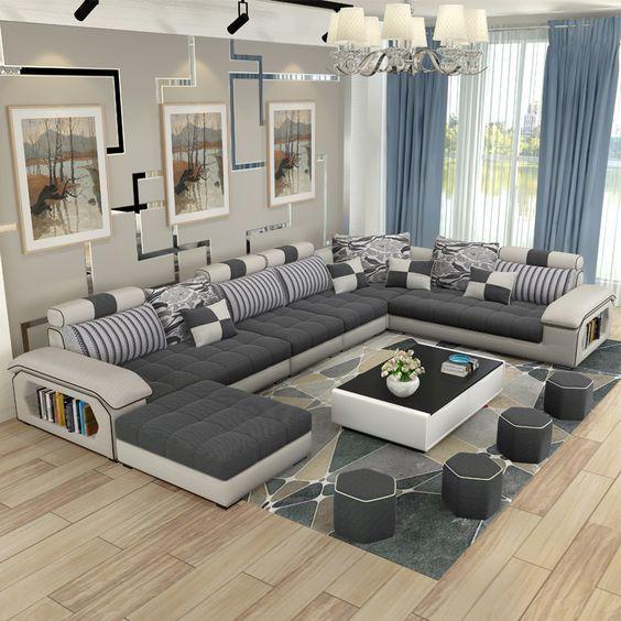 Moderne luxus wohnzimmer möbel ecke stoff schnittsofa set .