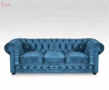 Blau Samt Möbel Schnitt Couch Wohnzimmer Stoff Chesterfield-sofa .