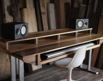 Midsize Modern Wood Recording Studio Desk for Composer / Producer .