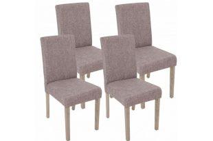 4x Stuhl Stuhlset Textil Stoff Stühle Esszimmerstuhl grau Eiche .