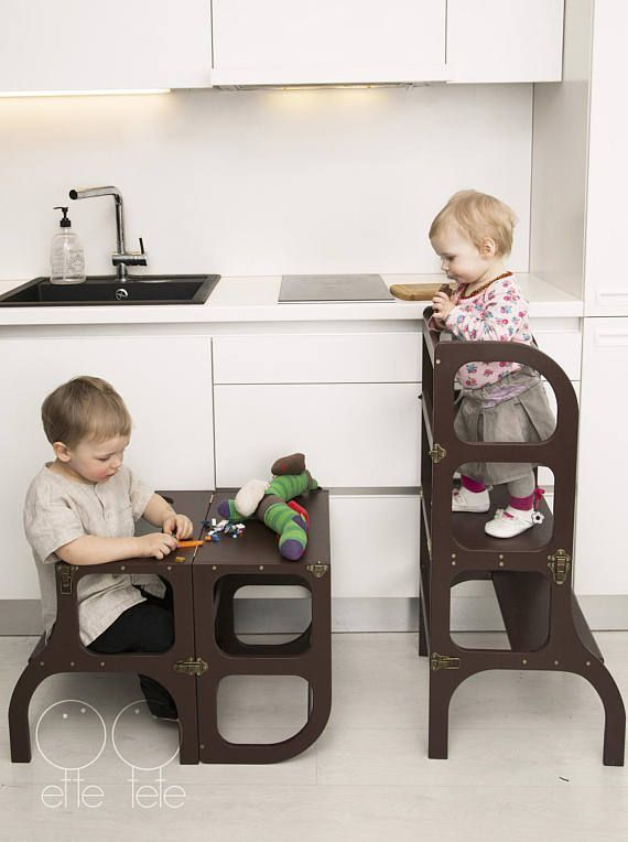 Helper tower / table / chair all-in-one, Montessori learning stool .