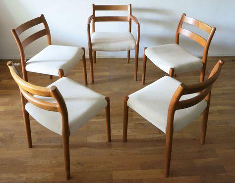 5 Niels O. Møller Moller Möller Teak Stühle dining chairs 84 (4 .