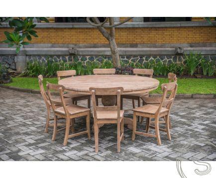 Teak Tisch rund 160cm Rustikal + 8 Stühle. Wohnen mit Teak Möbeln .