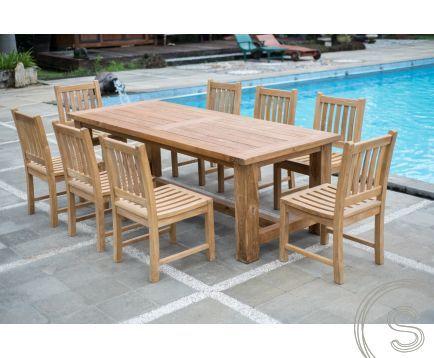 Teak Gartenmöbel Set für 8 Personen Langer Tisch 250 + 8 Beaufort .