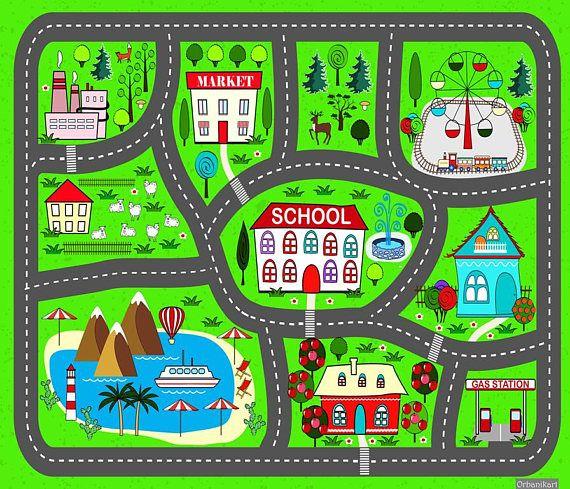 Spielteppich Auto. Stadt-Spiel zu spielen. praktische Teppiche für .