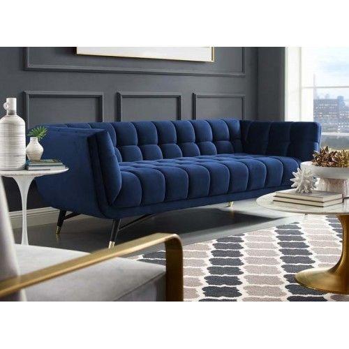 Mid Century Deep Tufted Blue Velvet Sofa in 2020 | Samt sofa .