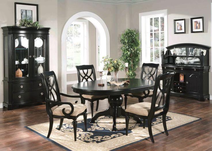 Formelles Esszimmer 6-teiliges Set ovale Tischstühle schwa