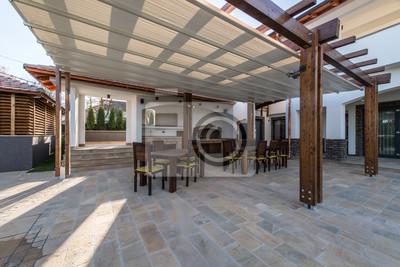 Lange tischstühle veranda luxus-villa außen fototapete .