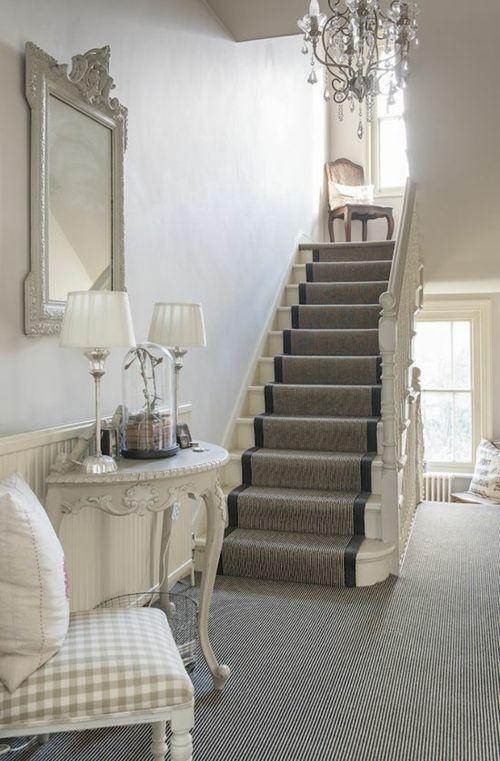 treppendesign Treppenteppich grau dominierende Farbe hoch im Trend .