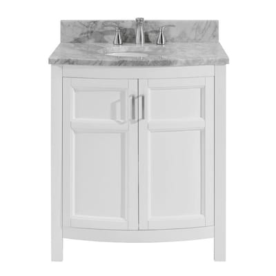 Allen + roth Moravia 30-in White Single Sink Bathroom Vanity with .