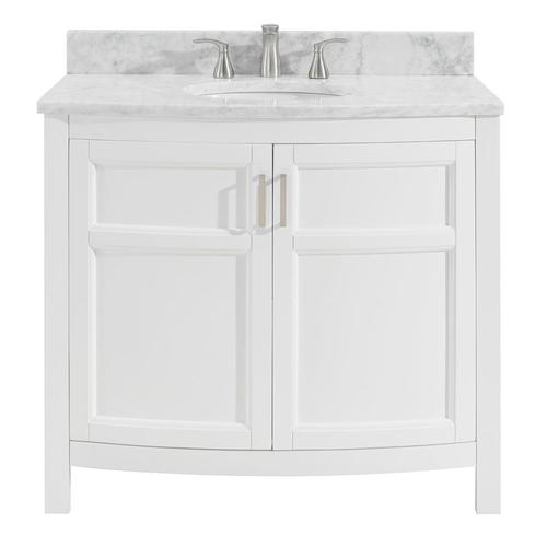 Allen + roth Moravia 36-in White Single Sink Bathroom Vanity with .