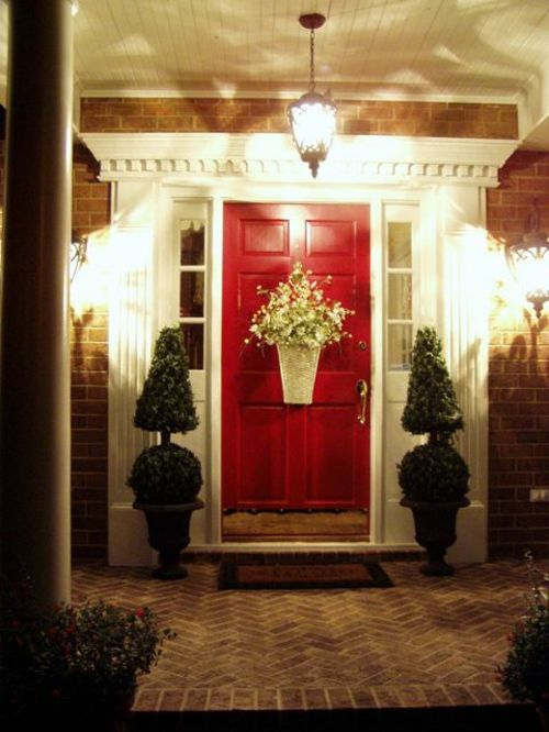 grell rot außentür nacht beleuchtung idee muster attraktive .