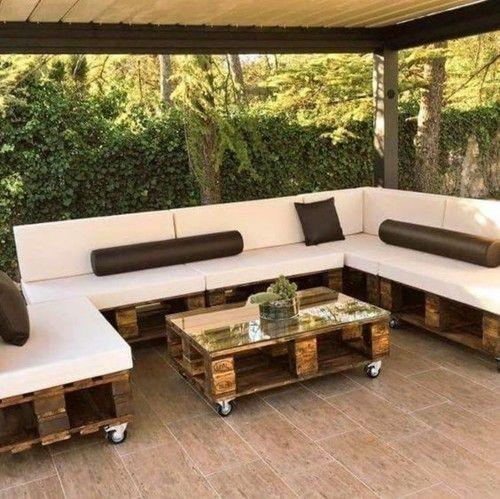 Möbel aus Paletten ganze Sitzecke Couchtisch - Veranda .