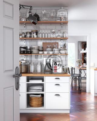 Weiße vintage küche interieur 3d-rendering leinwandbilder • bilder .