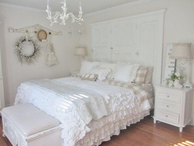 schlafzimmer ideen gestaltung shabby chic vintage weiß tagesdecke .