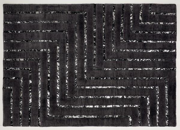 Leder/Viskose-Teppich NEW YORK, 200 x 300 cm, schwarz/silber .